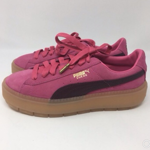 finest selection 08f53 5bc47 Puma Pink Suede Platform Trace Block Shoes 8 New NWT